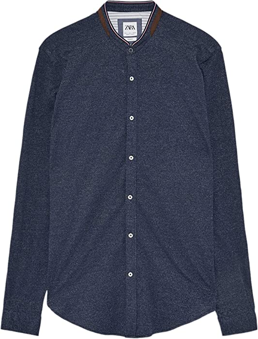 1db0b2e6 Zara Men Piqué Shirt with Elbow Patches 7545/371 (Small) Blue at ...