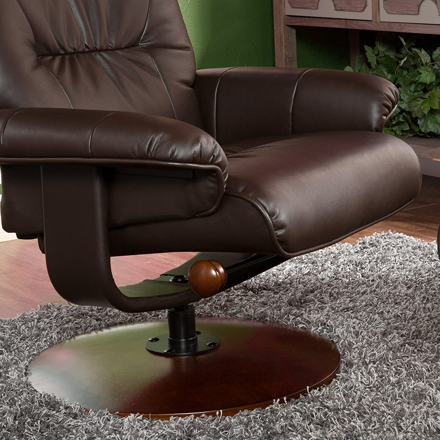 Amazon.com: Bonded Leather Recliner and Ottoman - Brown: Kitchen ...