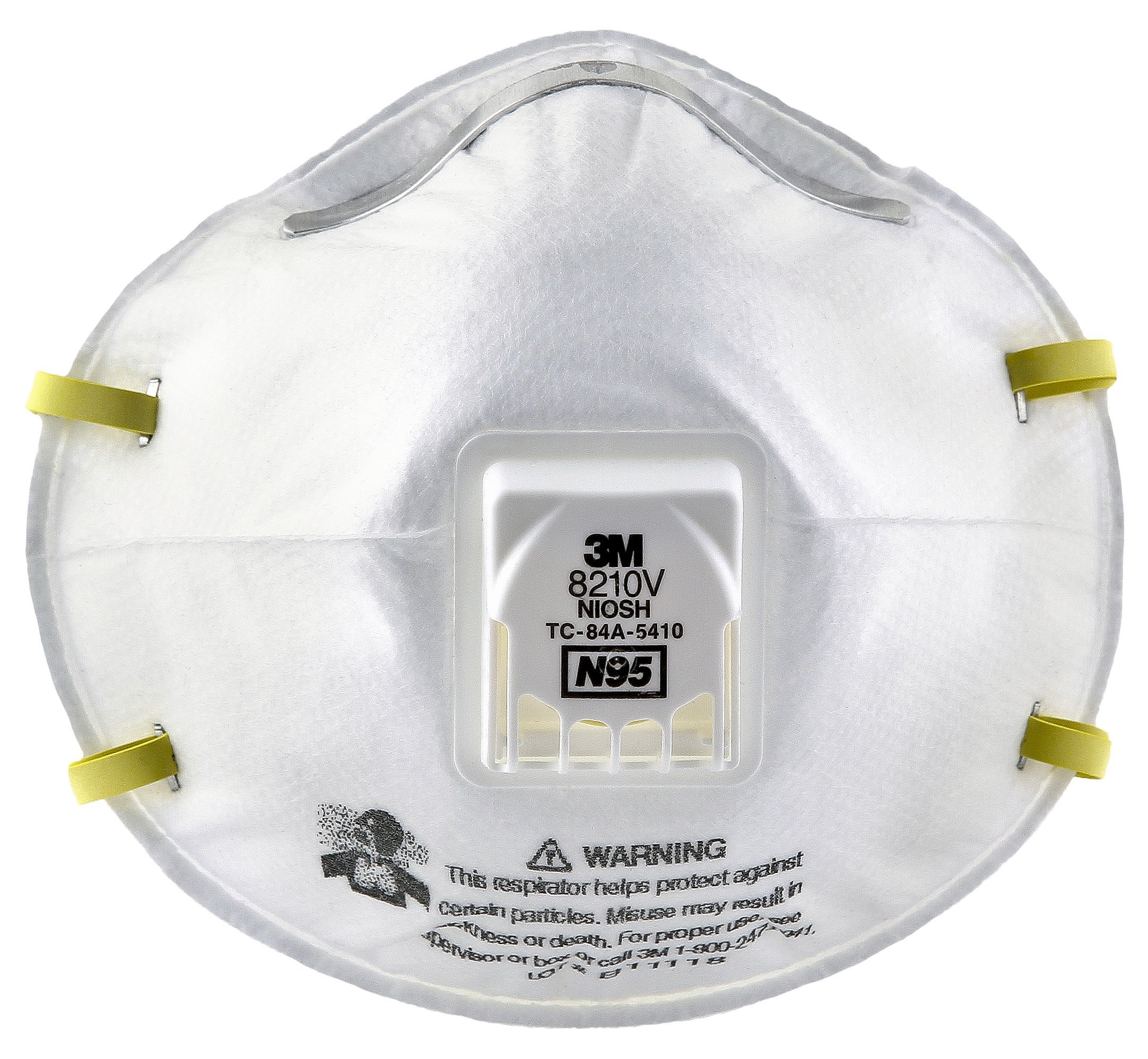 3M 8210V Particulate Respirator with Cool Flow Valve, Grinding, Sanding, Sawing, Sweeping, Woodworking, Dust, 10/Box by 3M