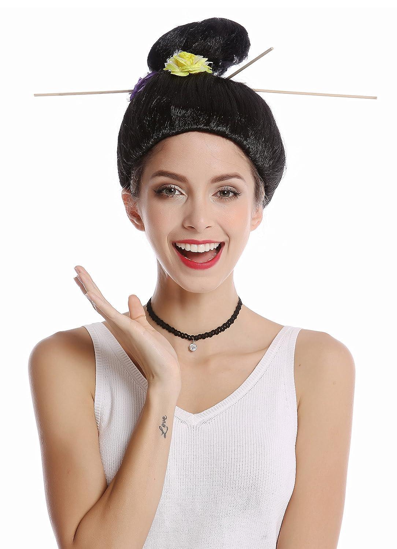 WIG ME UP ® - WG-7022B-ZA103 Peluca Mujer Halloween Carnaval Geisha ...