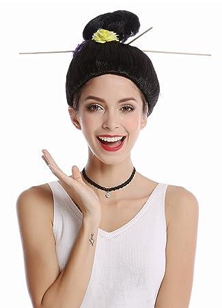 WIG ME UP ® - WG-7022B-ZA103 Peluca Mujer Halloween Carnaval Geisha Japón