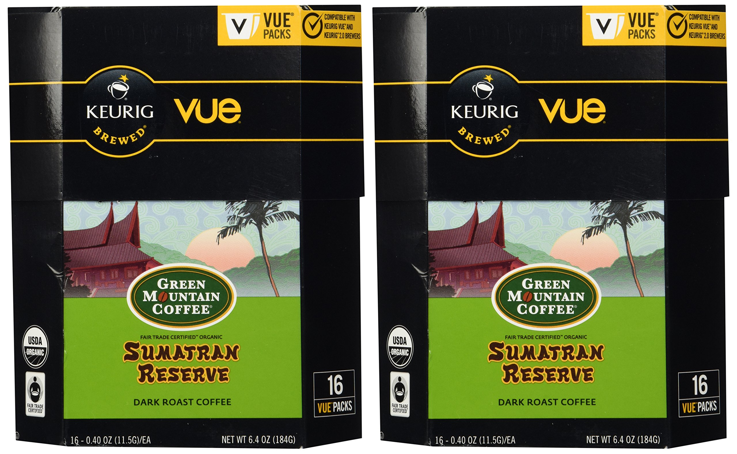 32 Count - Green Mountain Fair Trade Organic Sumatran Reserve Coffee Vue Cup For Keurig Vue Brewers