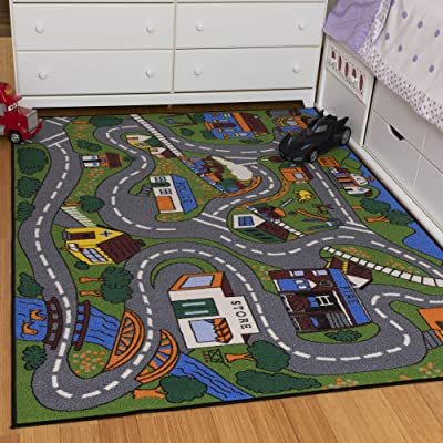 "Ottomanson Jenny Collection Grey Base with Multi Colors Kids Children's Educational Road Traffic System Design(Non-Slip) Area Rug, 5'0"" X 6'6"", Multicolor: Home & Kitchen"