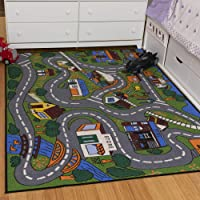 """Ottomanson Jenny Collection Kids' Non-slip City Street Design Area Rug , 5'0"""" X 6'6"""", Multicolor"""