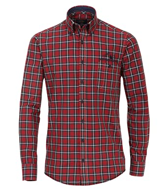 ee420d44dc925b Casa Moda - Casual Fit - Oxford Herren Hemd Kariert mit Button Down-Kragen  in Rot (472858300A)  Amazon.de  Bekleidung