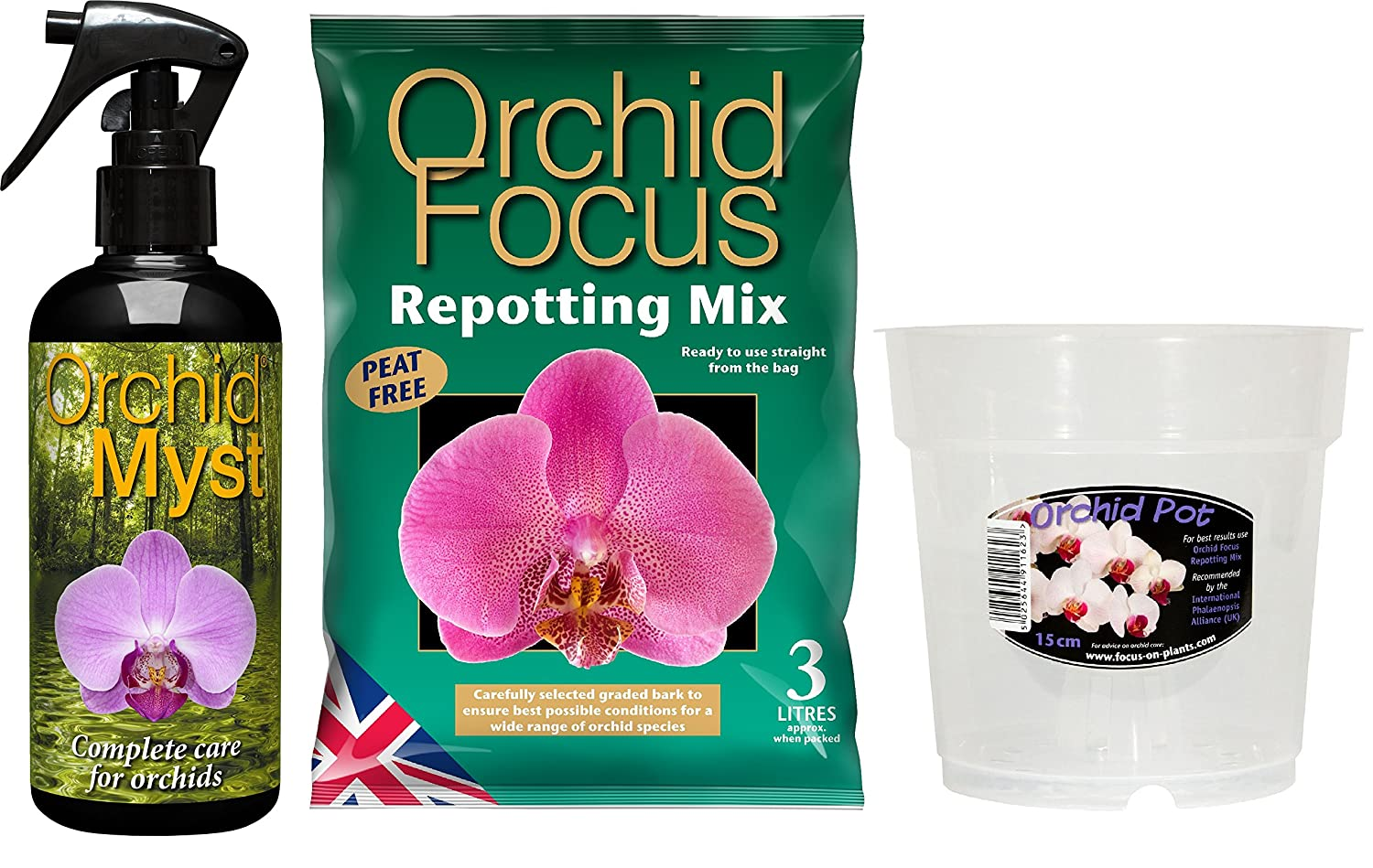 Orchid Myst 300ml, Orchid Repotting Mix 3L and 15cm Clear Orchid Pot Orchid Kit Growth Technology