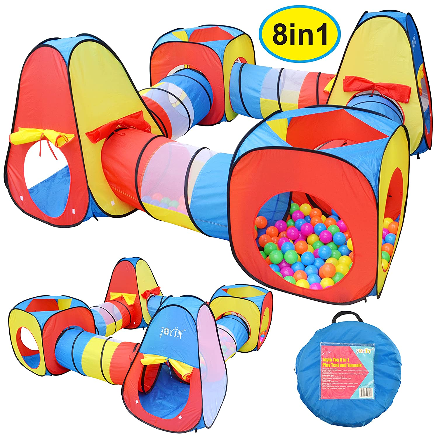 Joyin Toy 8 in 1 Pop-up Play Tent Tunnel Including 4 Kids Play Tunnels, 2 Cubic Tents and 2 Triangle Tents Perfect for Ball Pit Playing Joyin Inc
