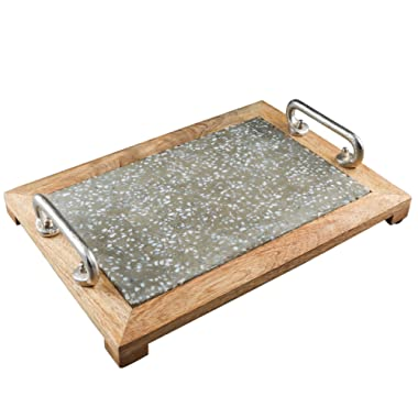 Thirstystone NCIL070 Serving Tray, Small, Silver/Brown