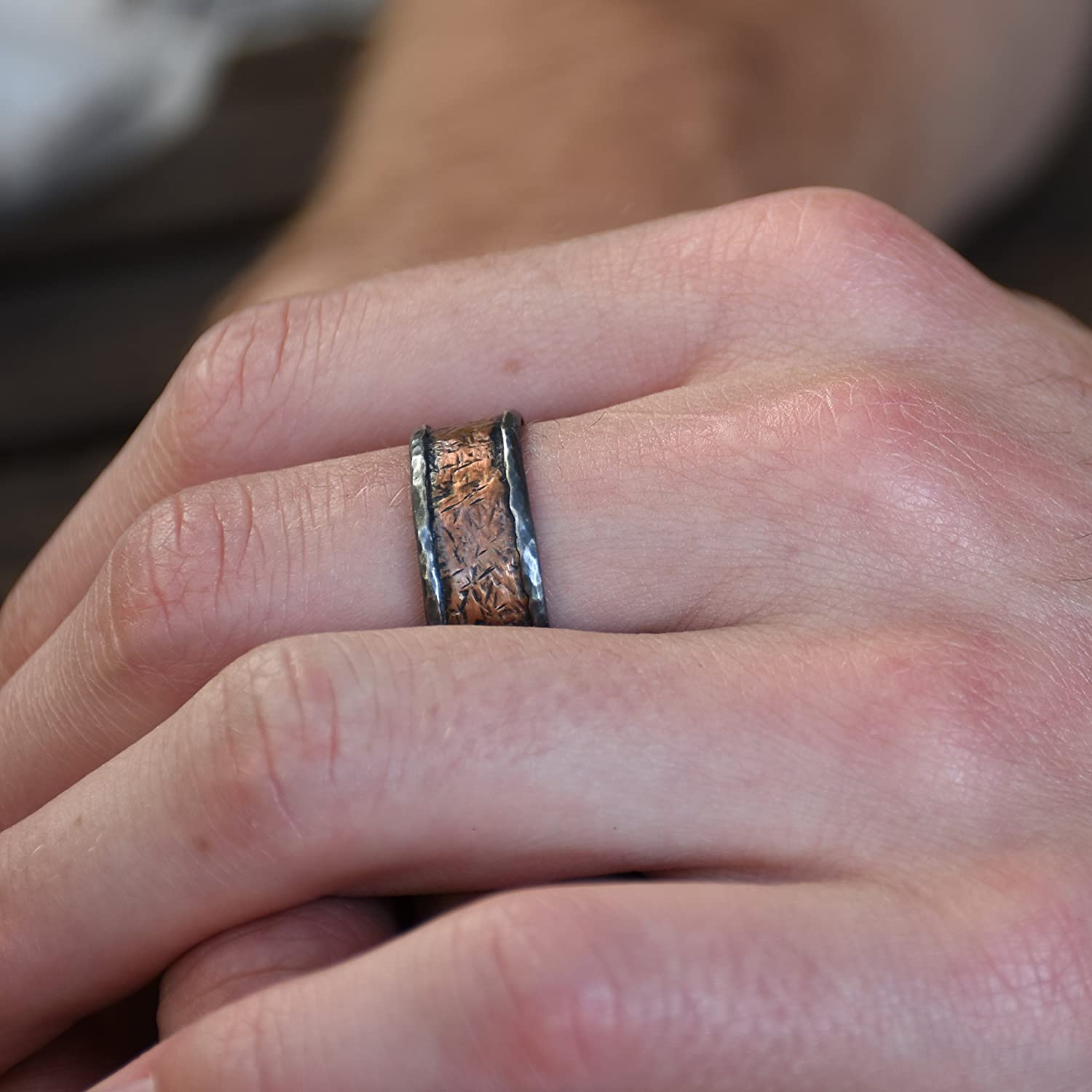 Amazon.com: Rustic silver and Copper men ring, Oxidized stacking ...