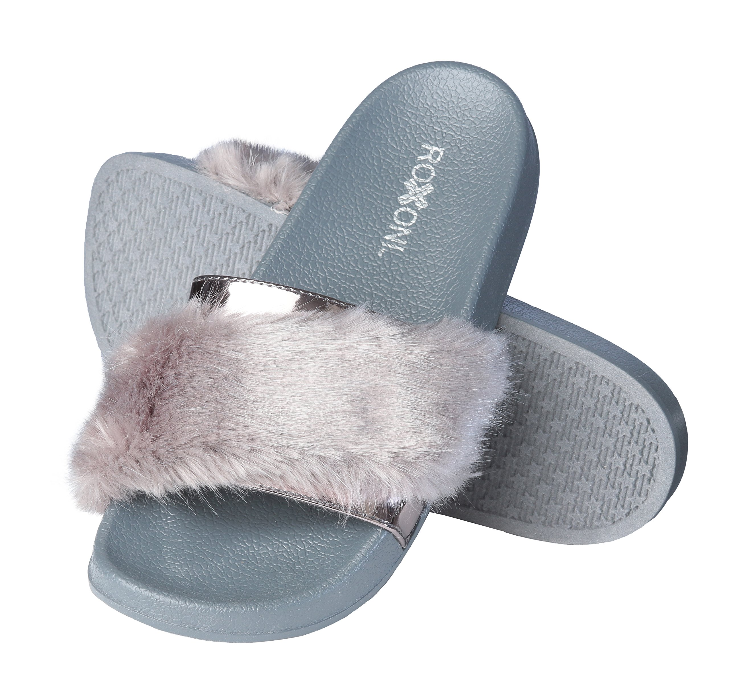 Roxoni Women's Summer Fur and Metallic Open Toe Slide Sandal Slippers