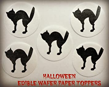 12 halloween black cat silhouette spooked scared precut edible cake toppers 15 small dozen set - Black Cat Silhouette Halloween