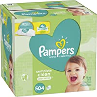 Baby Wipes, Pampers Sensitive Water Baby Diaper Wipes, Complete Clean Unscented, 7 Refill Packs for Dispenser Tub, 504 Total Wipes