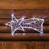 Stella cometa a batteria Acrylic Ice, 40 x 20 cm, 20 led bianchi, cavo trasparente, stella di Natale, decorazioni natalizie, stella cometa luminosa