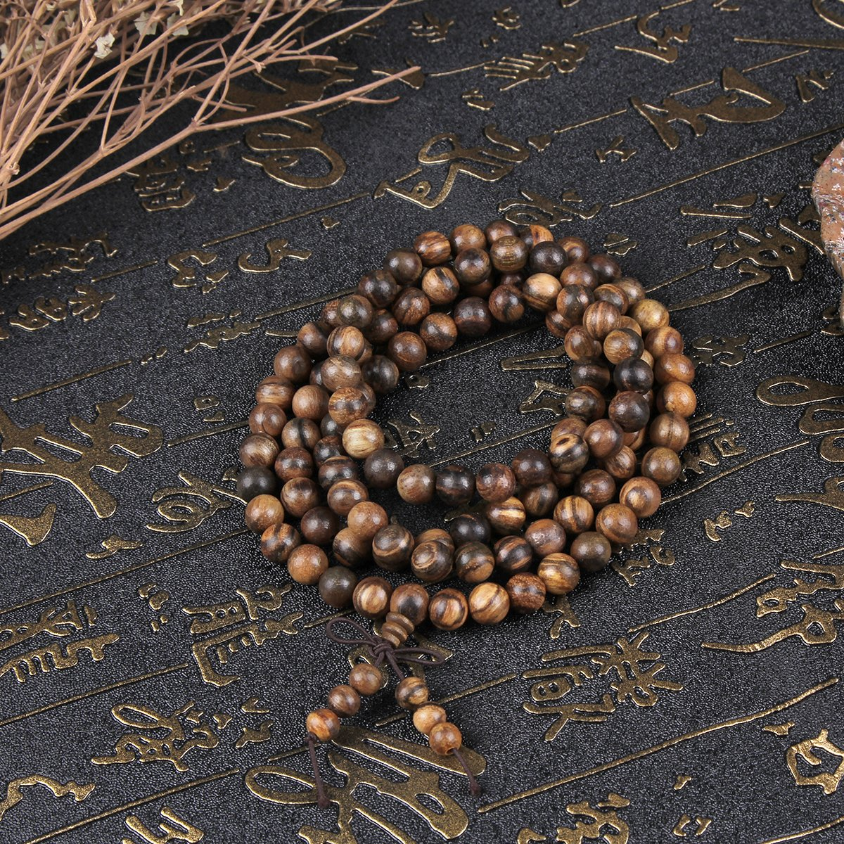 EVBEA 2PCS 6mm 8mm Buddha Bracelet Necklace Prayer Beads Rosary Wood Bracelets for Men (8mm bead) by EVBEA (Image #2)