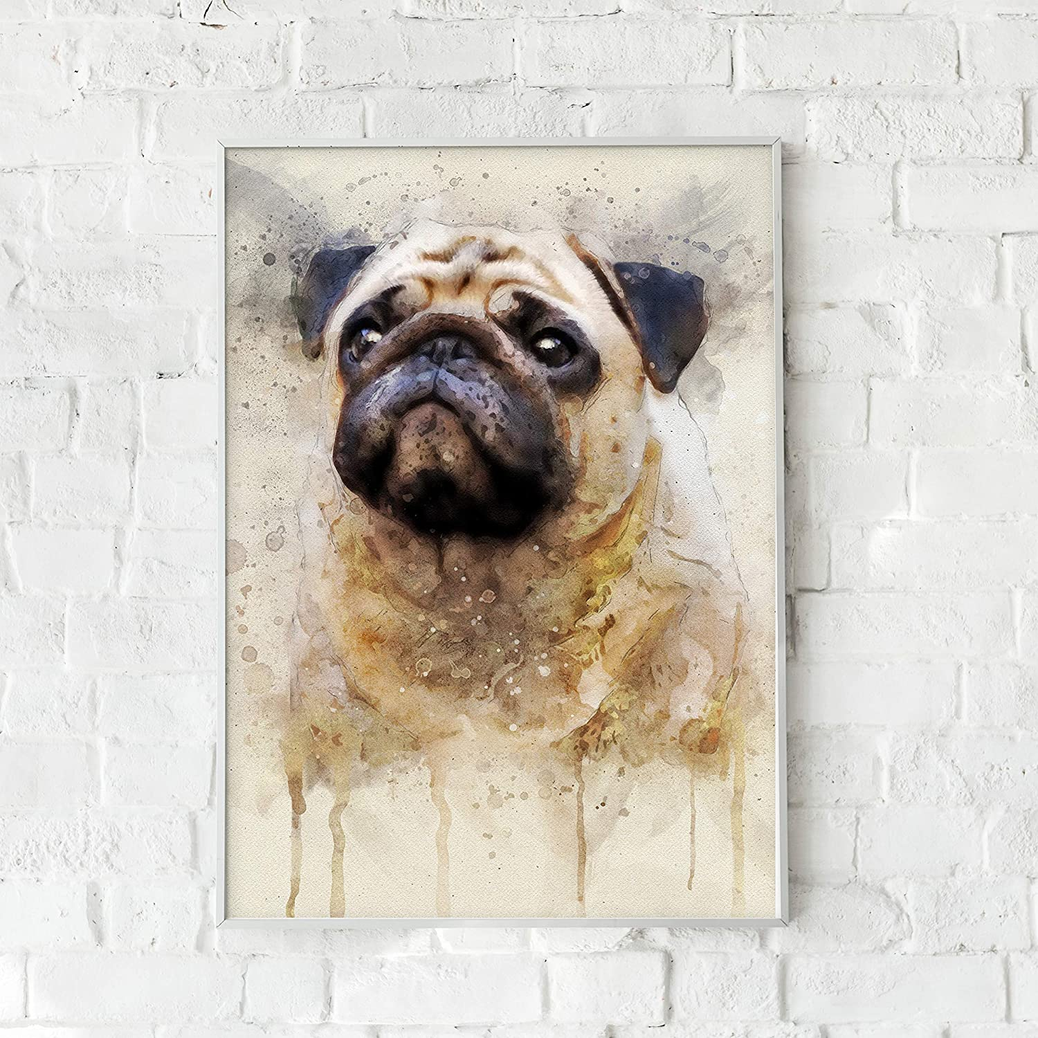 English Picture Print Pug Dog Mother and Puppies Art