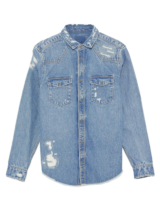 478db0ace47 Zara Men Ripped Denim Overshirt 1821 350 at Amazon Men s Clothing store