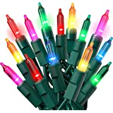 Prextex Christmas - Juego de luces de alambre verde de 100 unidades, multicolor