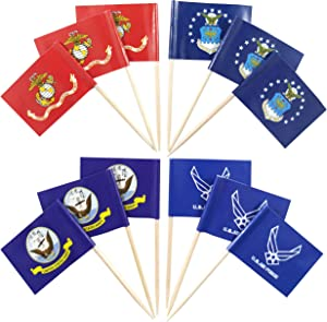 JBCD 200 Pcs US Marine Corps Cupcake Toppers Navy Decorations, Army Flags Toothpick Air Force Wings Cup Cake Topper Mini Small Flag Pick Sticks
