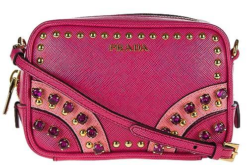 Prada bolso de mano pochette mujer en piel nuevo con bandolera saffiano crystal: Amazon.es: Zapatos y complementos