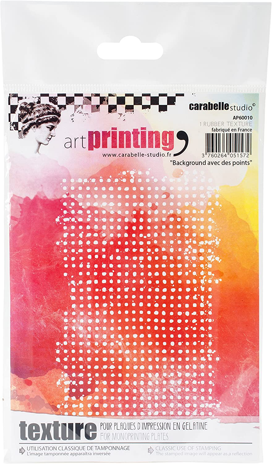 Carabelle Studio Art Printing A6 Rubber Texture Plate, Background With Dots