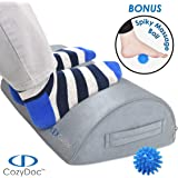 COZYDOC Ergonomic Foot Rest Cushion Under Desk + Massage Ball | The World's Most Comfortable Footrest for Home, Office, Travel | Doctor Designed Orthopedic Foam for Feet, Knee, Back Pain Relief【Gray】