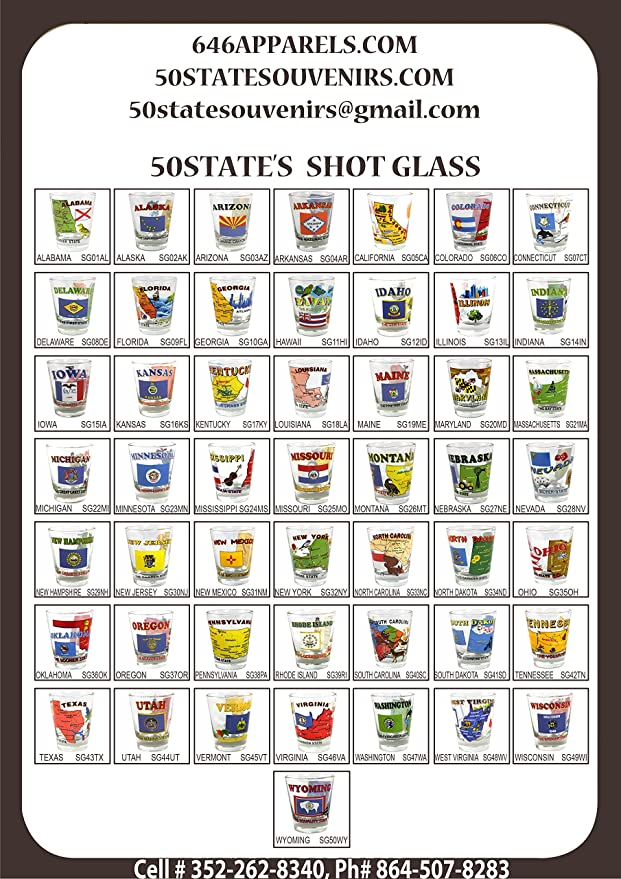 Amazon.com | Souvenir Shot Glass 50 States Alabama - AL to Wyoming - WY+ 1  Free W.DC. (51 Nos): Shot Glasses