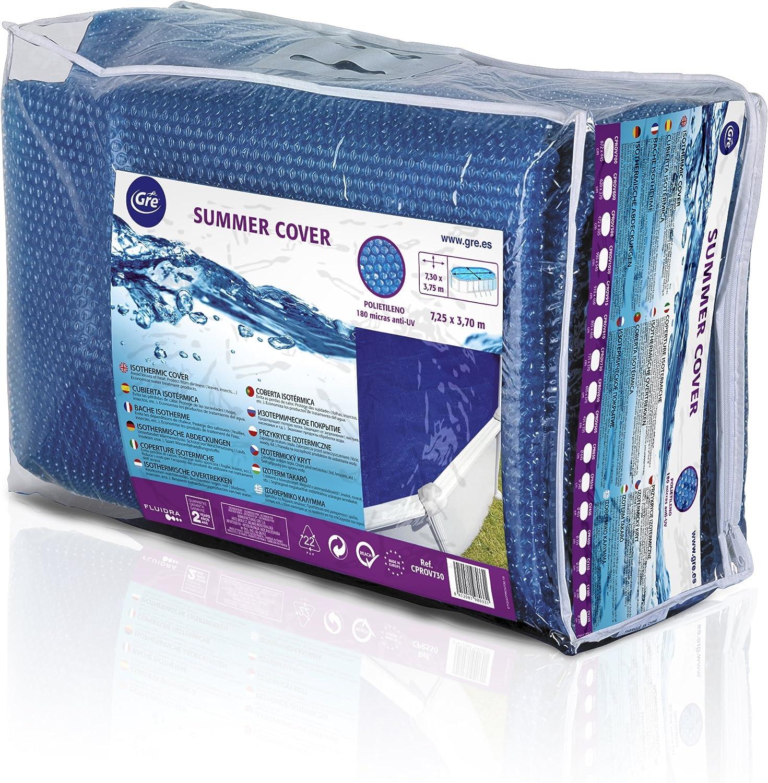 Gre CPROV730 - Cobertor de Verano para Piscina Ovalada de 730 x 375 cm, Color Azul