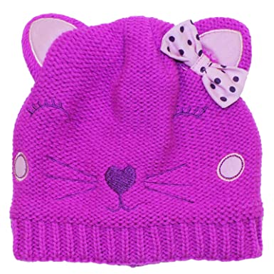 f16f1081db8 Girls Hello Kitty Pink Winter Beanie Hat Smiling Kitty Design With Pink Bow  Ages 1-3 Years  Amazon.co.uk  Clothing