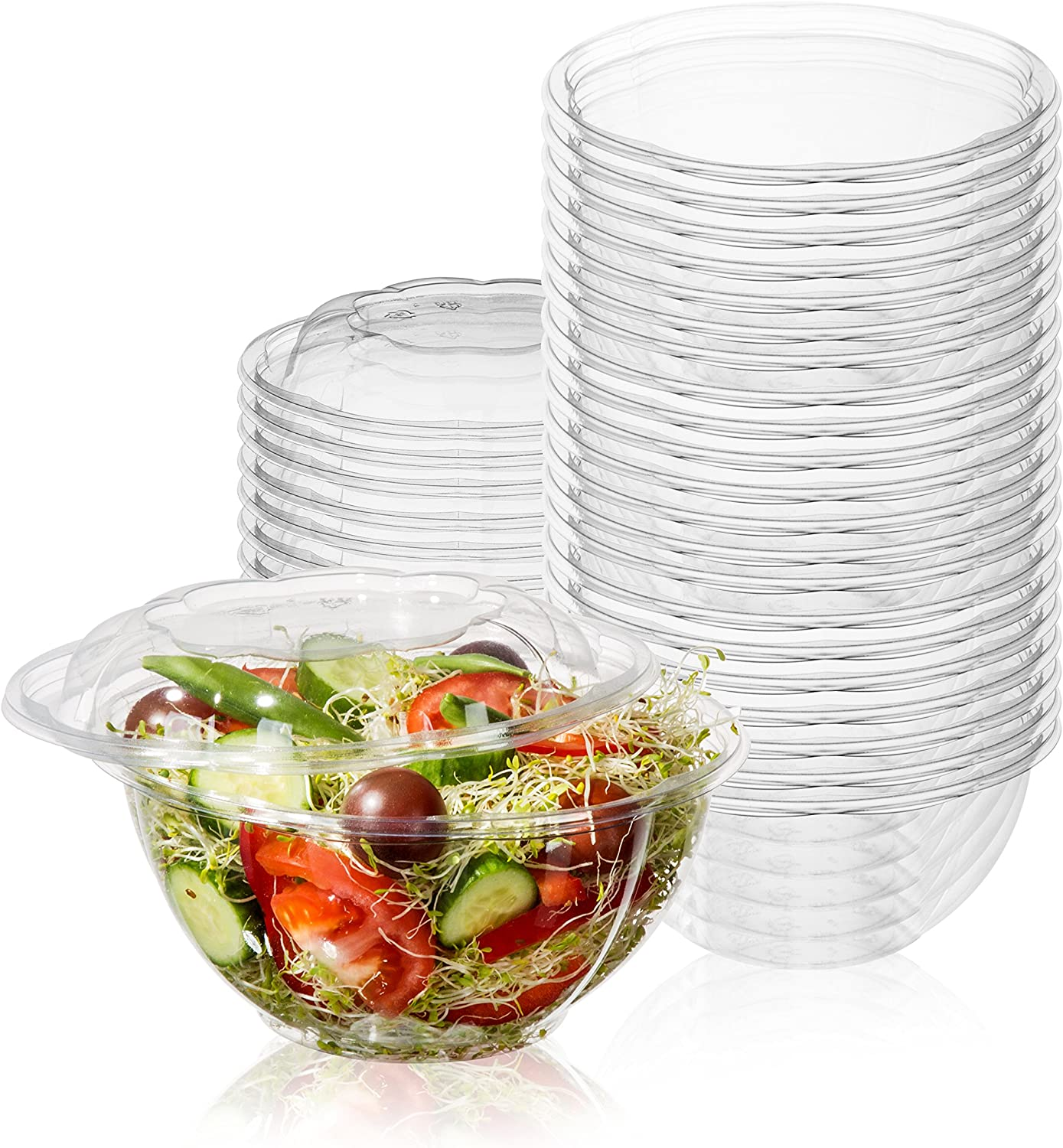 50-Pack 32oz Plastic Disposable Salad Bowls with Lids - Eco-Friendly Clear Food Containers - Extra-Thick Materials - Portable Serving Bowl Set to Pack Lunch - Super Strong Seal To Preserve Freshness