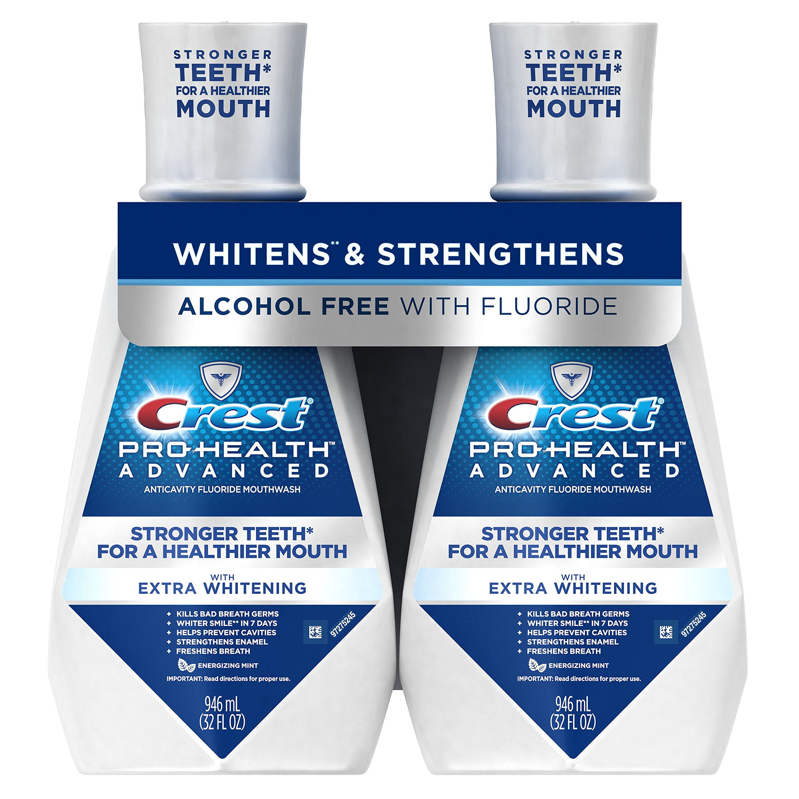 Crest Pro-Health Advanced Mouthwash with Extra Whitening, Energizing Mint, 32 Oz, Pack of 2