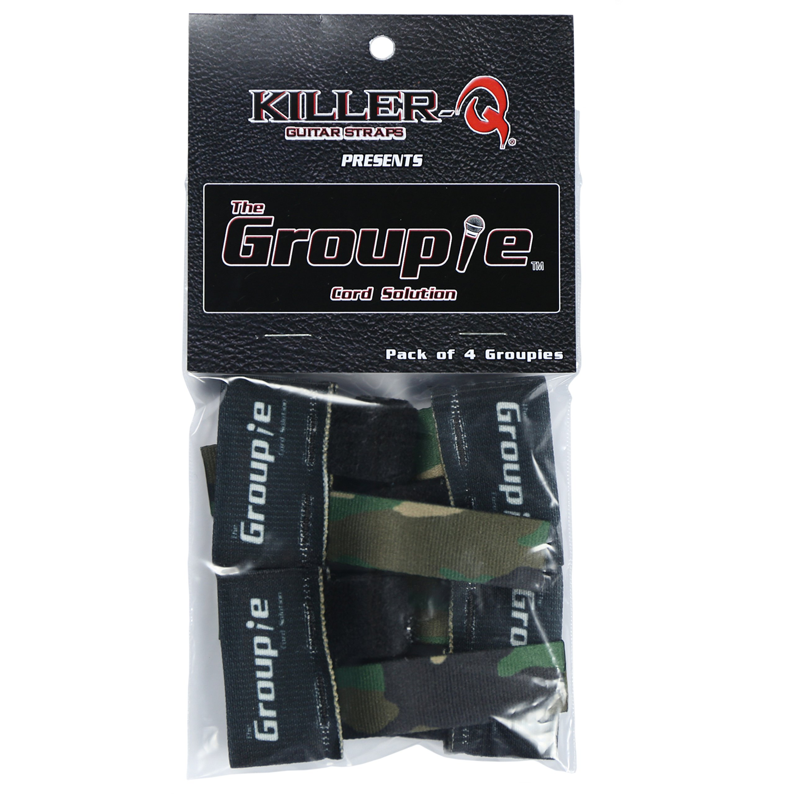 Killer-Q Guitar Cable Organizer System - The Groupie Cord Keeper Tie Solution For Instruments, Audio Equipment - Camouflage, 4 Pack