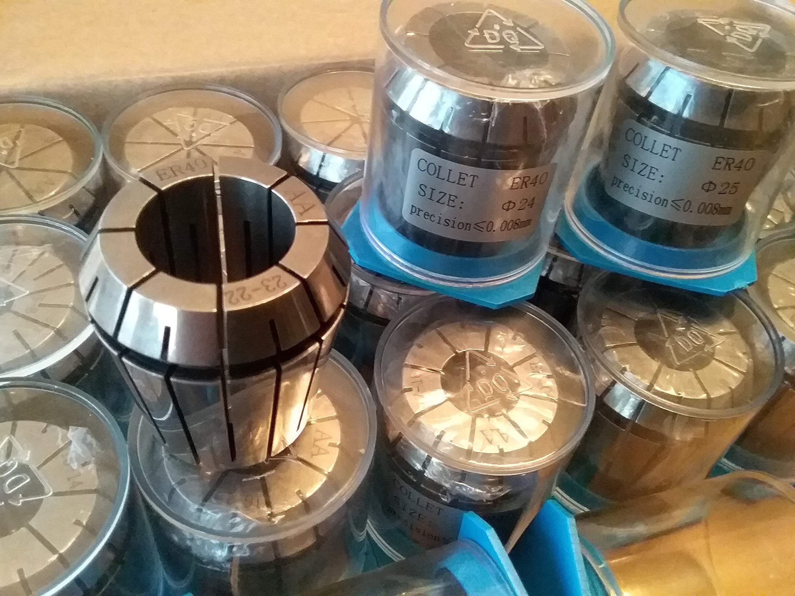 23pcs ER40 Metric Collet Set, collets 4mm - 26mm, 0.008mm TIR #ER40-SET23M-NEW by CME (Image #2)
