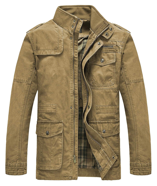 42655be6017 Heihuohua Men s Field Jacket Cotton Stand Collar Lightweight Military Coat  at Amazon Men s Clothing store