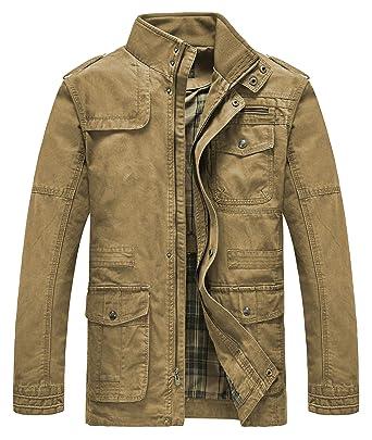 8afee3c9cb2 Heihuohua Men s Classic Field Coat Cotton Stand Collar Military Windbreaker  Jacket