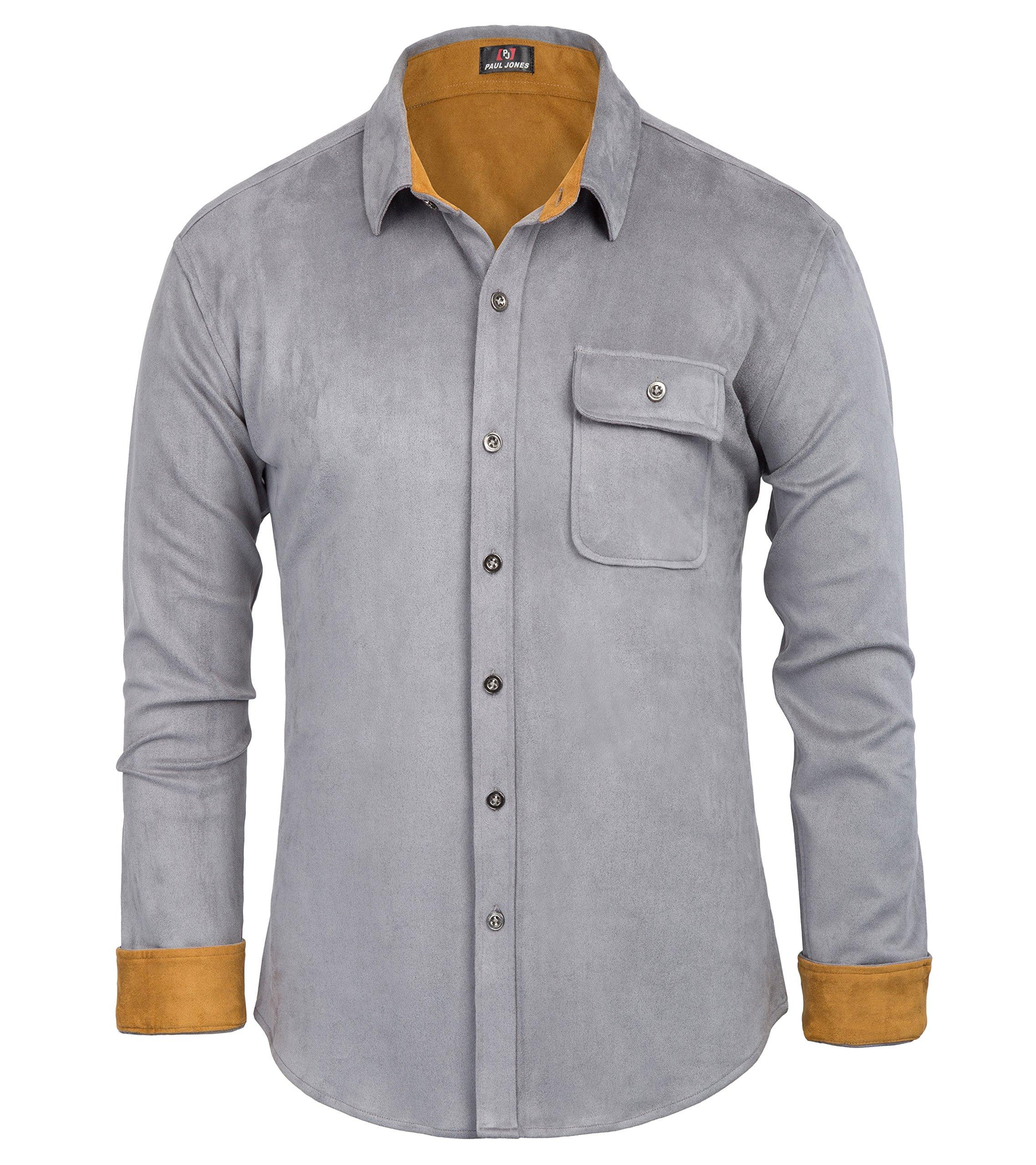 PAUL JONES Men's Regular Fit Long Sleeve Polyester Suede Dress Shirt XXL Grey