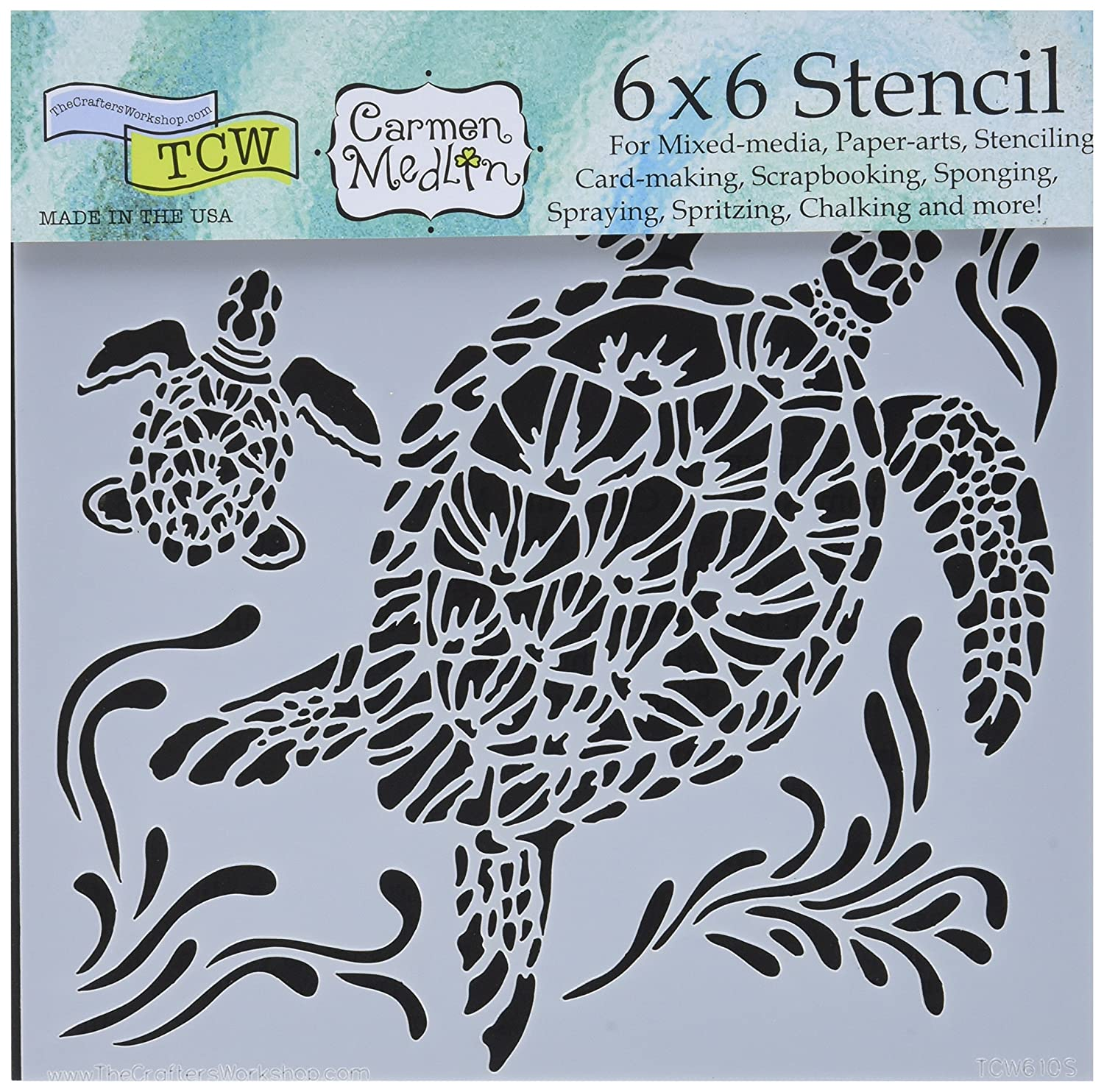 Crafters Workshop Tcw610s Template 6 X 6 Sea Turtles White