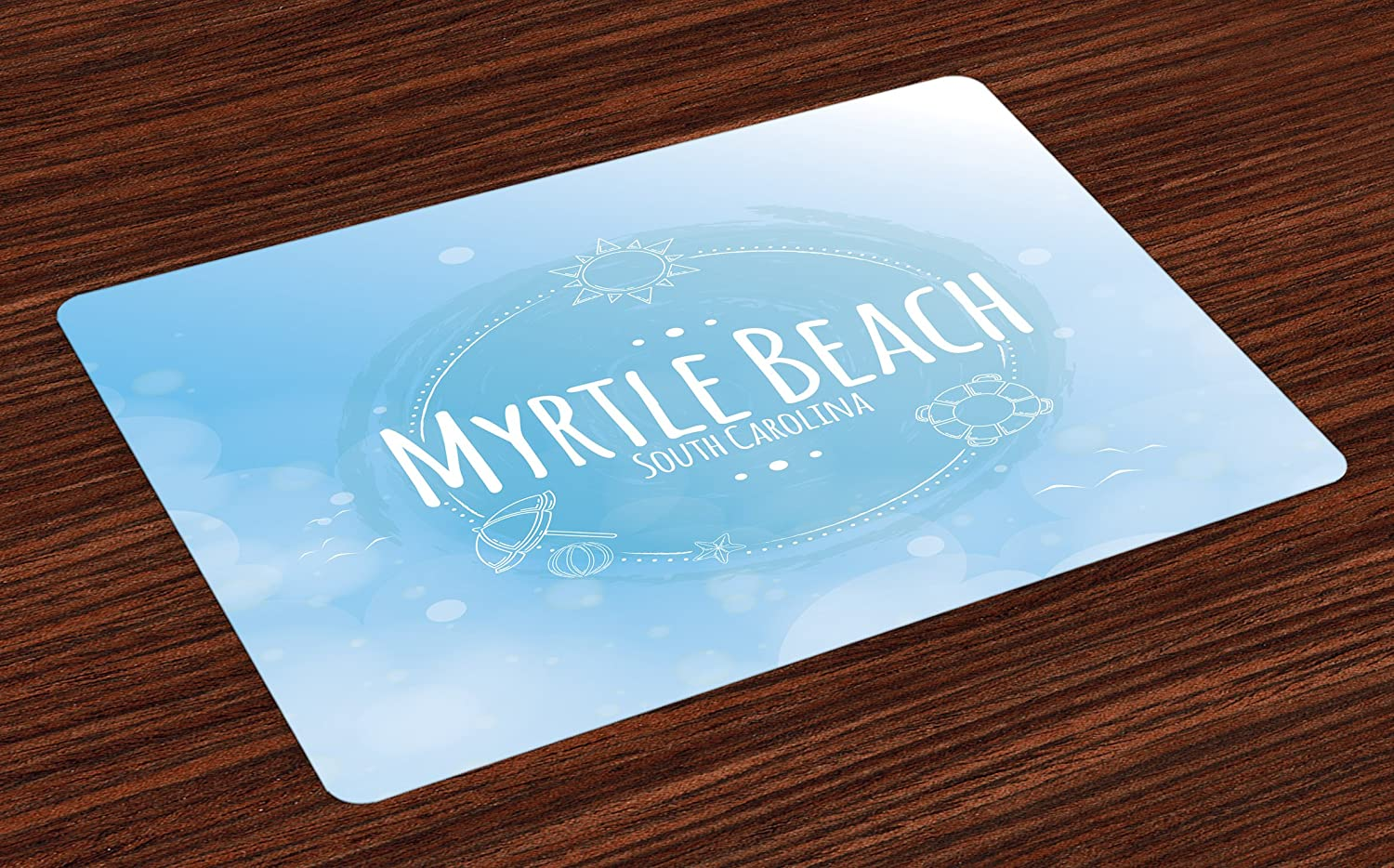 Lunarable Myrtle Beach Place Mats Set of 4, South Carolina Beach Lettering with Sun Umbrella and Starfish Sketch, Washable Fabric Placemats for Dining Room Kitchen Table Decor, Blue Baby Blue White