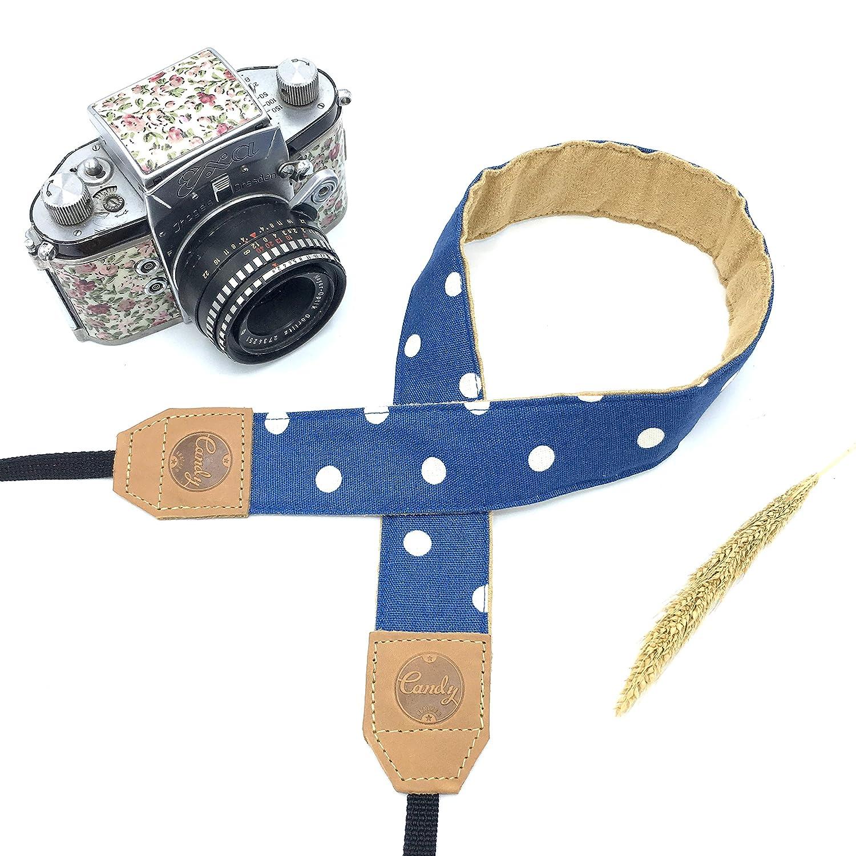 ブルーPolkadotカメラストラップ、キャンディレザーDSLR SLRミラーレスカメラストラップ、本革カメラストラップ、ギフトfor Her B0773CC95Q