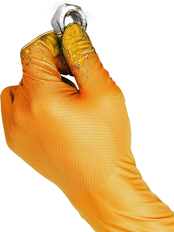 50 unidades Guantes desechables de nitrilo sin polvo Gripster Skins by Gocableties Gocableties de alta calidad Naranja PPE Cat 3 25 pares Large//Size 9