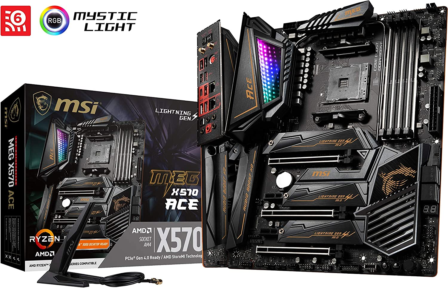 MSI Meg X570 Ace - Placa Base (Chipset AMD X570, DDR4, Audio Boost ...