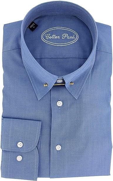 Cotton Park – Camisa de cuello inglés azul doble retornos ...