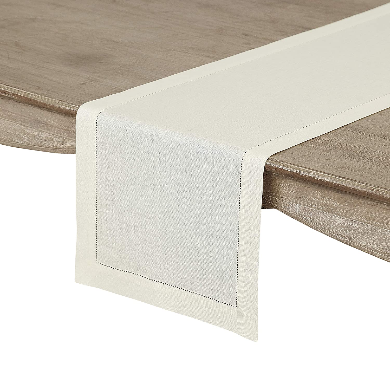 Solino Home Hemstitch Linen Table Runner - 14 x 72 Inch, Handcrafted from European Flax, Machine Washable Classic Hemstitch - Ivory
