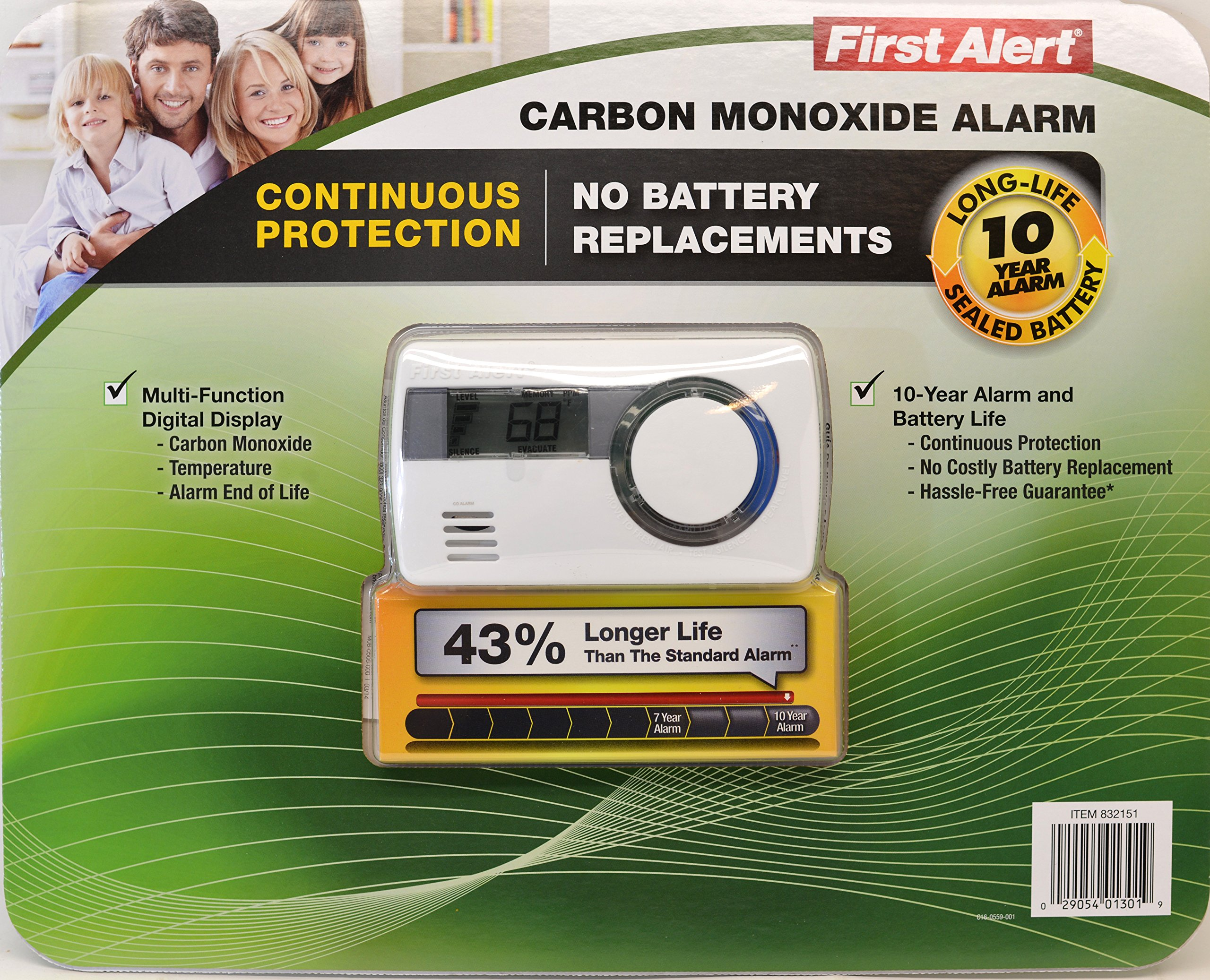 First Alert Carbon Monoxide Alar Long life 10 Year Alarm with Temperature by First Alert (Image #1)