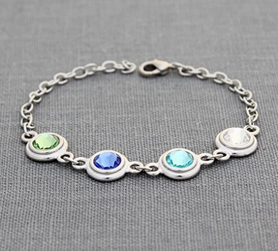 Amazon Com Birthstone Bracelet For Mom Personalized Mother S Day