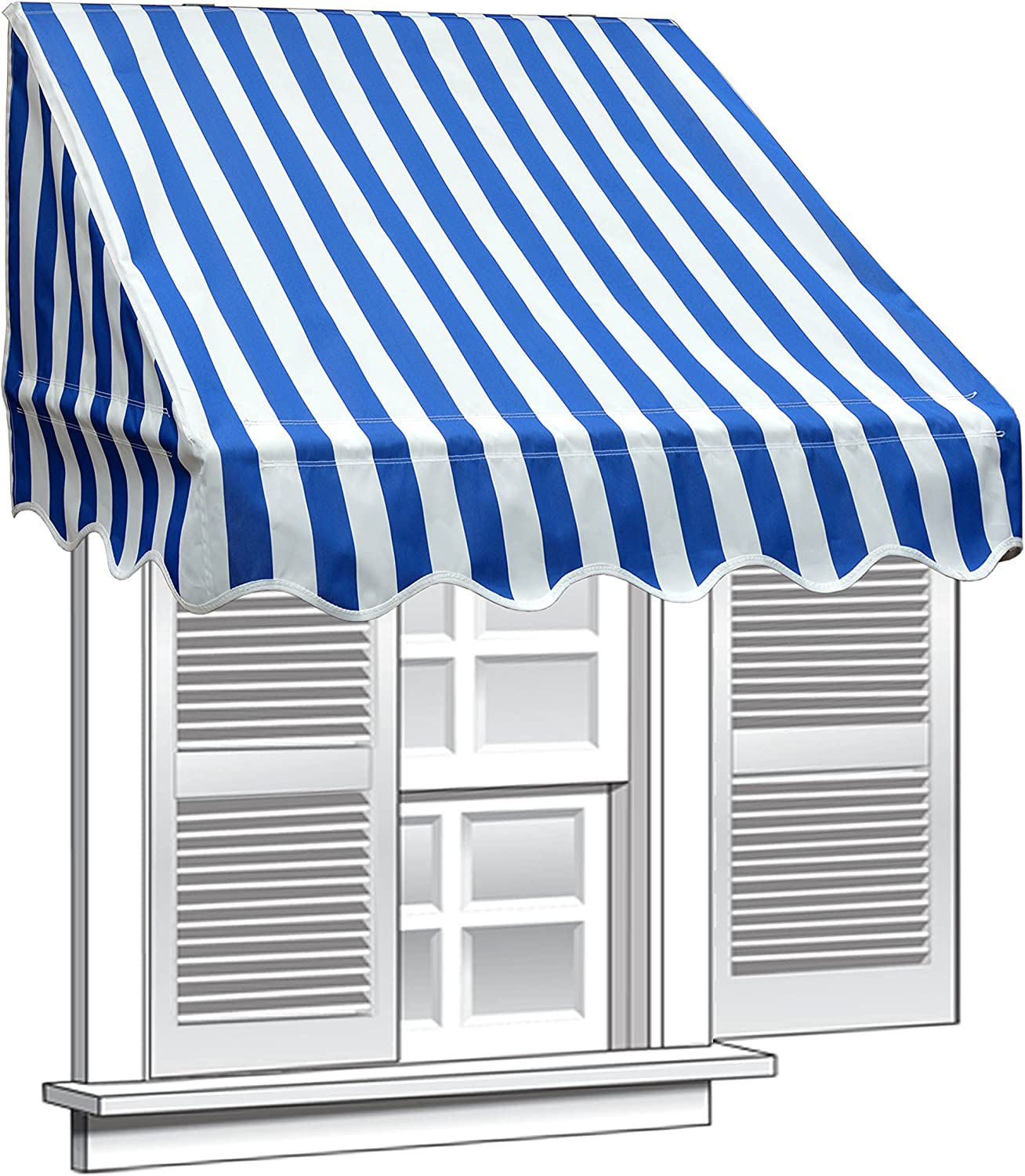 ALEKO 4×2 Feet Blue White Stripe Window Awning Door Canopy 4-Foot Decorator Awning