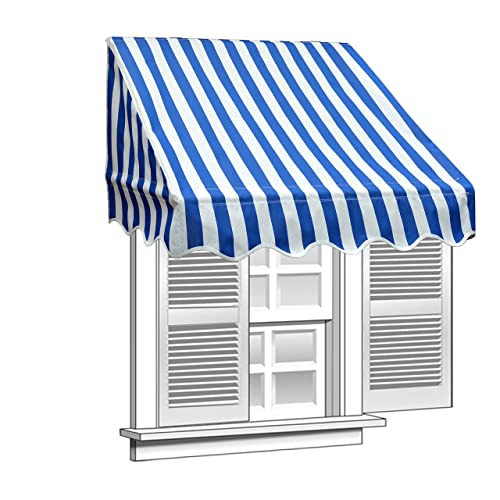 Aleko 8 X 2 Window Awning Door Canopy 8-Foot Decorator Awning, Blue And White