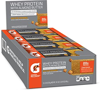 12-Pack Gatorade Whey Protein with Almond Butter Bars (Salted Caramel)