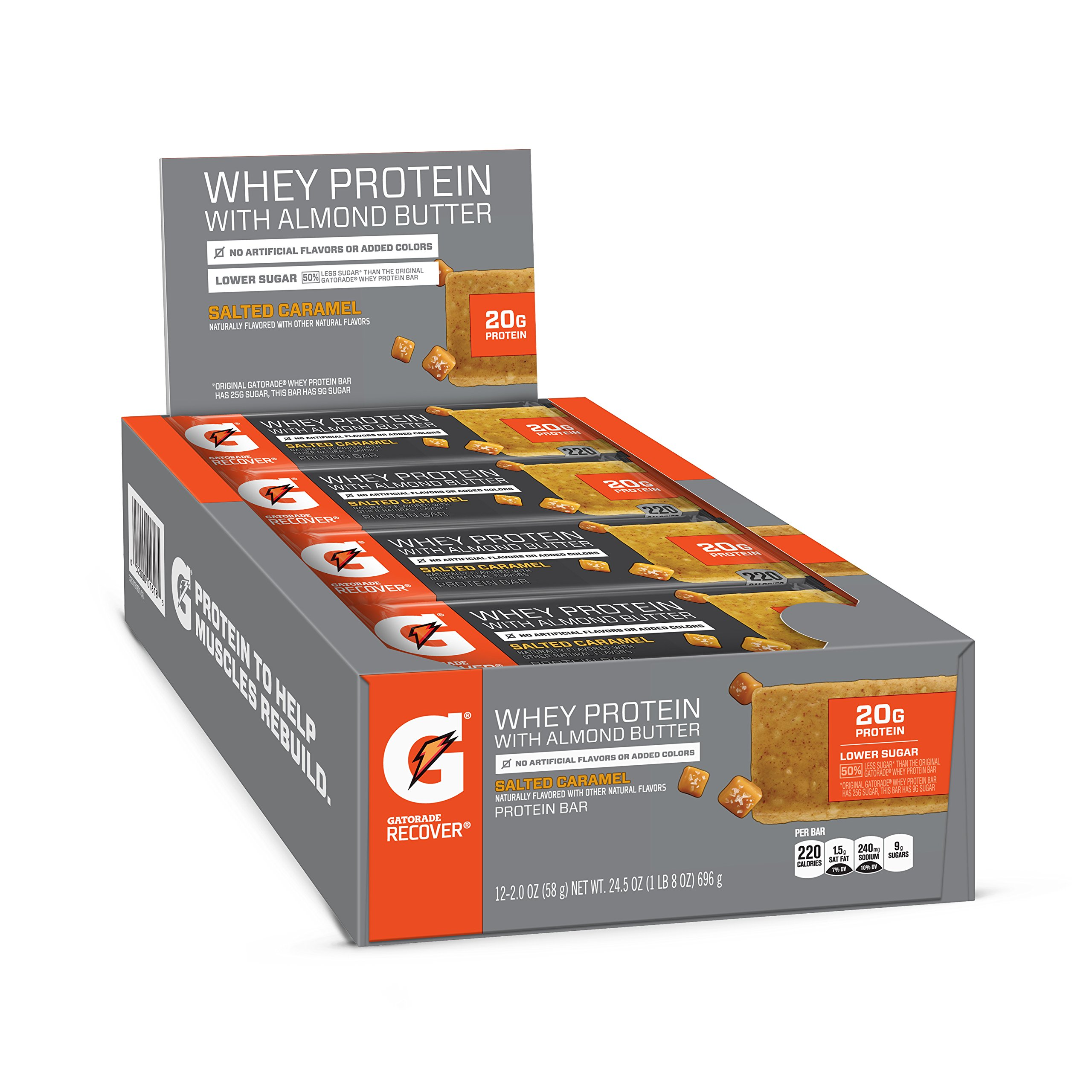 Gatorade Whey Protein With Almond Butter Bars, Salted Caramel, 12 Count by Gatorade
