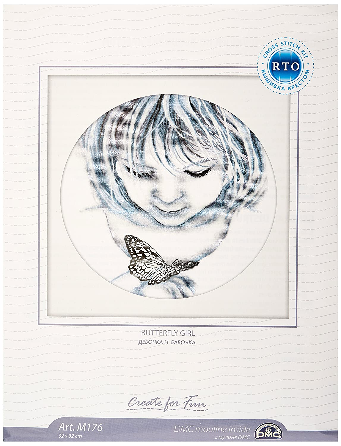 RTO Girl with Butterfly Counted Cross Stitch Kit, 12-1/2 by 12-1/2-Inch M176