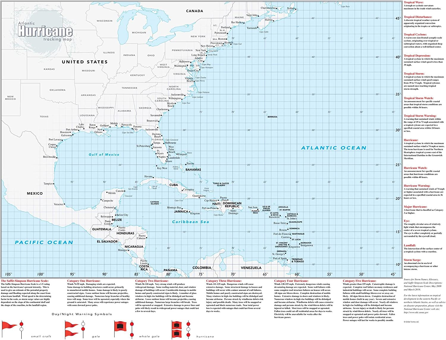 "Hurricane Tracking Wall Map - 33"" x 44"" Laminated"